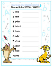 Unscramble the Dental Words Activity Sheet